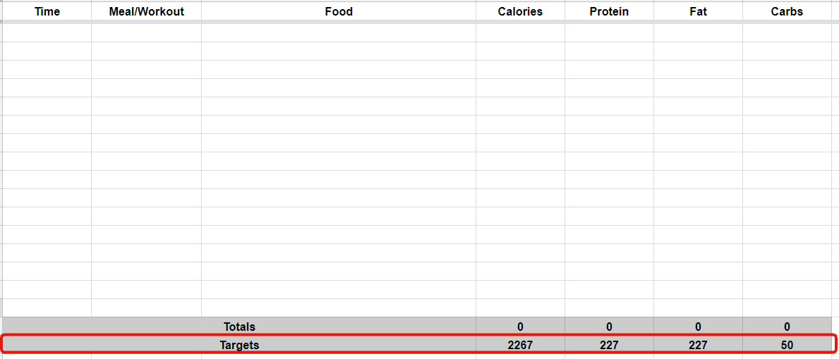 meal plan spreadsheet